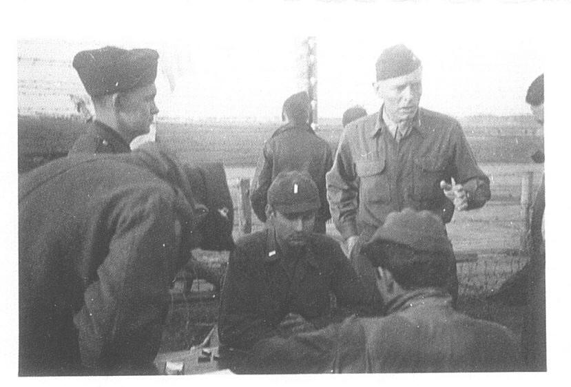 Col. Malmstrom directing evacuation of POWs at Stalag Luft I.