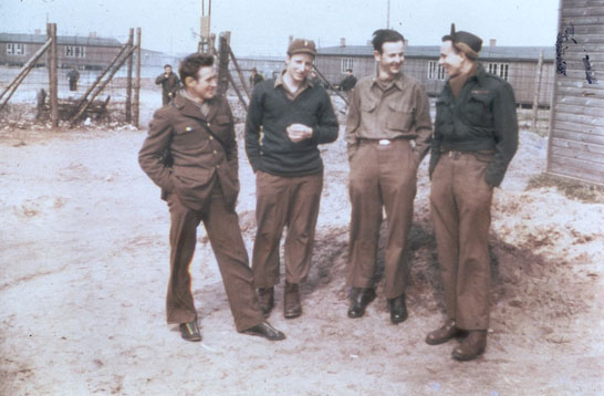 Color photo of POWs at Stalag Luft I