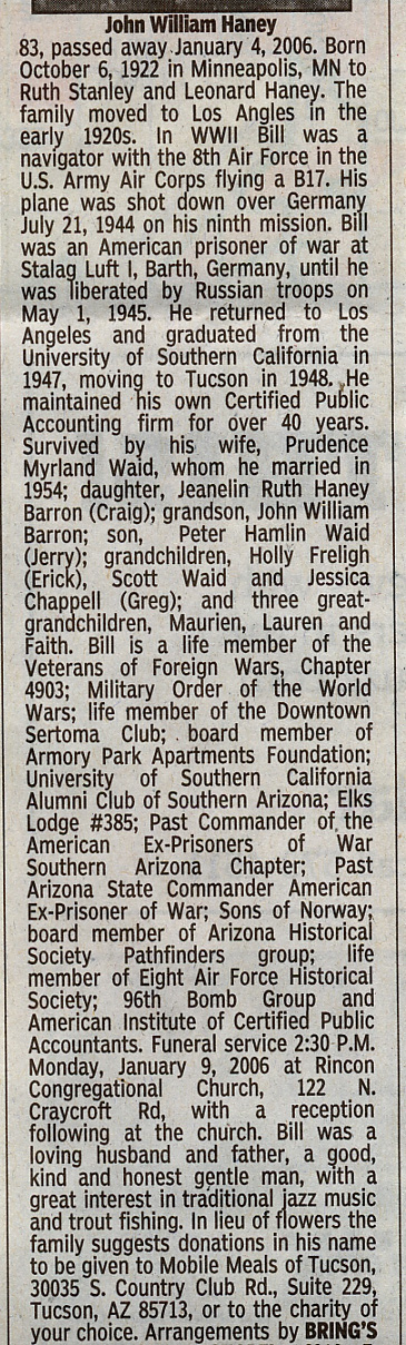 Bill Haney obituary in 2006