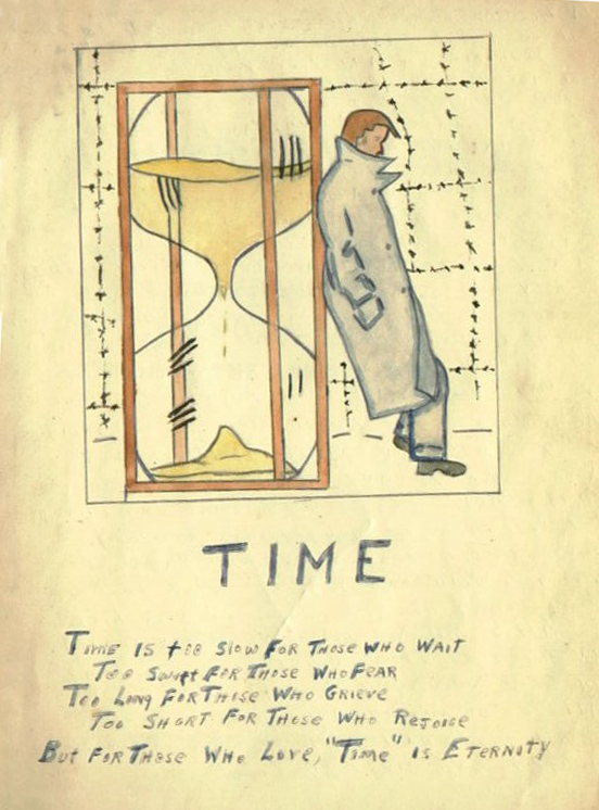 POW sketch of Hourglass and Time poem