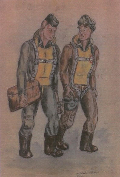 Drawing of  World War II Bombardier and Pilot - water color
