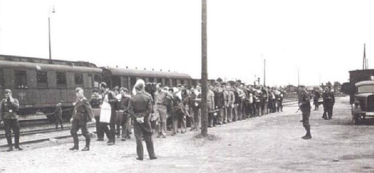 Prisoners-of-war arriving at Barth train station