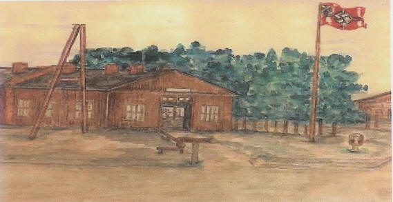 German headquarters at Stalag Luft I water color