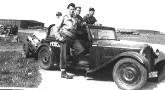 German command car at Barth, Germany during evacuation of prisoners of war