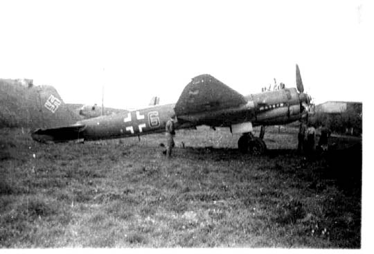 JU-88 on the ground at Barth , Germany airport at war end
