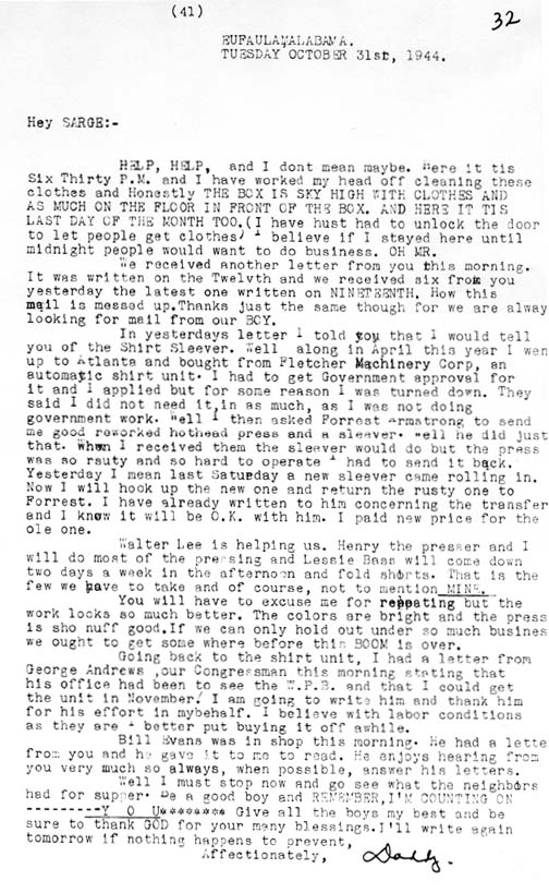 letter from home 103144 wwii family letter