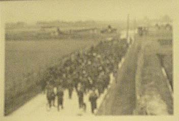 POWs marching to Stalag Luft I in WWII Germany
