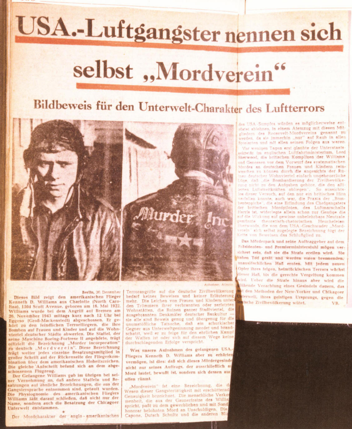 kenneth d williams murder inc wwii pow german newspaper article of murder inc