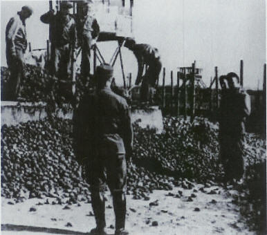 POWs receive potatoes at Stalag Luft I