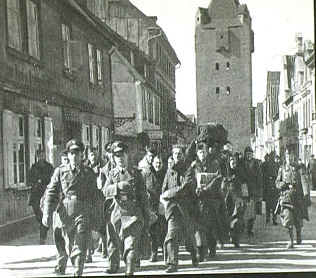 POWs march through Barth to Stalag Luft I