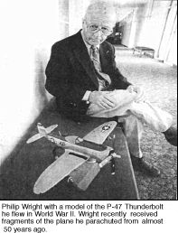 Philip Wright with model of P-47 Thunderbolt